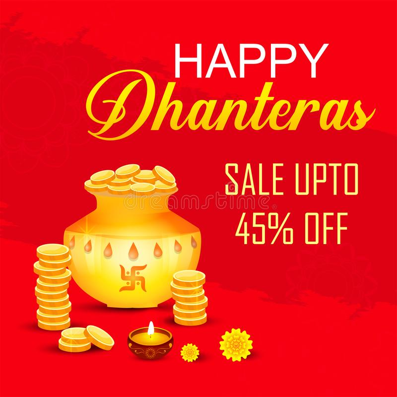 Творческие иллюстрация, плакат или знамя с украшенным баком заполнили с золотыми монетками счастливых dhanteras, фестиваля diwali иллюстрация вектора
