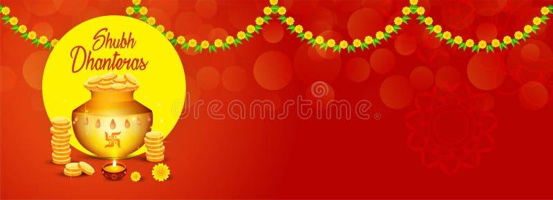 Творческие иллюстрация, плакат или знамя с украшенным баком заполнили с золотыми монетками счастливых dhanteras, фестиваля diwali бесплатная иллюстрация