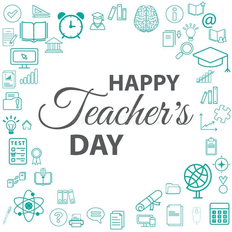 Творческие конспект, знамя или плакат на счастливый день ` s учителя с славным и творческим дизайном бесплатная иллюстрация