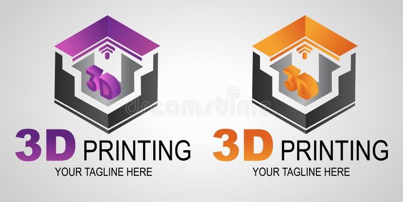 Творческие логотип печати 3D или знак, значок Современное печатание принтера 3D Аддитивное производство иллюстрация вектора