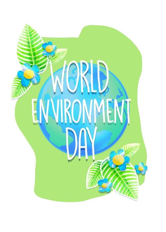 Творческие плакат или знамя дня мировой окружающей среды Поздравительная открытка праздника предохранения от экологичности Дизайн бесплатная иллюстрация