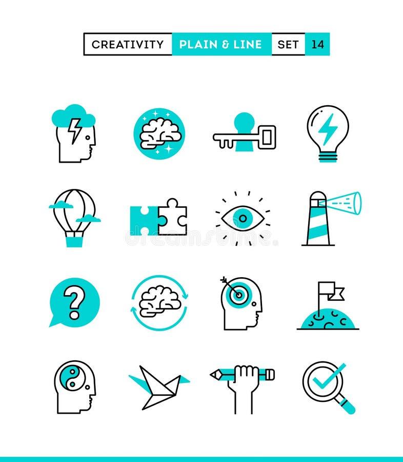 Творческие способности, воображение, решение проблем, сила разума и больше P иллюстрация штока