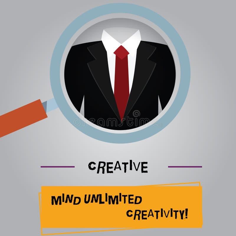 Творческие способности творческого разума текста почерка неограниченные Смысл концепции полный мозга оригинальных идей гениальног иллюстрация вектора