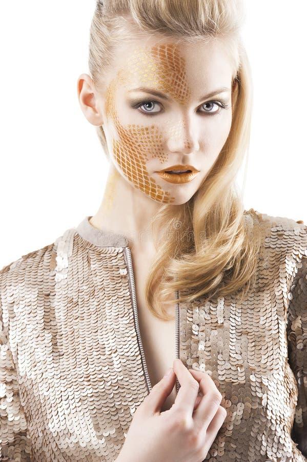 Творческие sequin блестящие составляют девушку, стоковое изображение