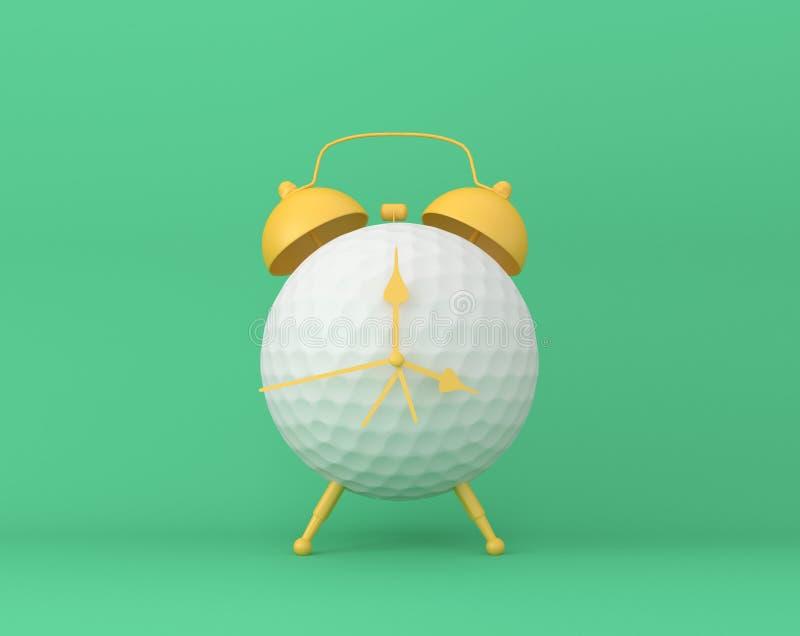 Творческий будильник гольфа плана идеи на пастельной зеленой предпосылке стоковое изображение rf