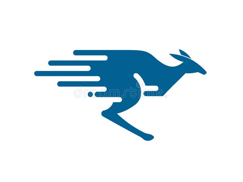 Творческий быстрый логотип кенгуру иллюстрация штока