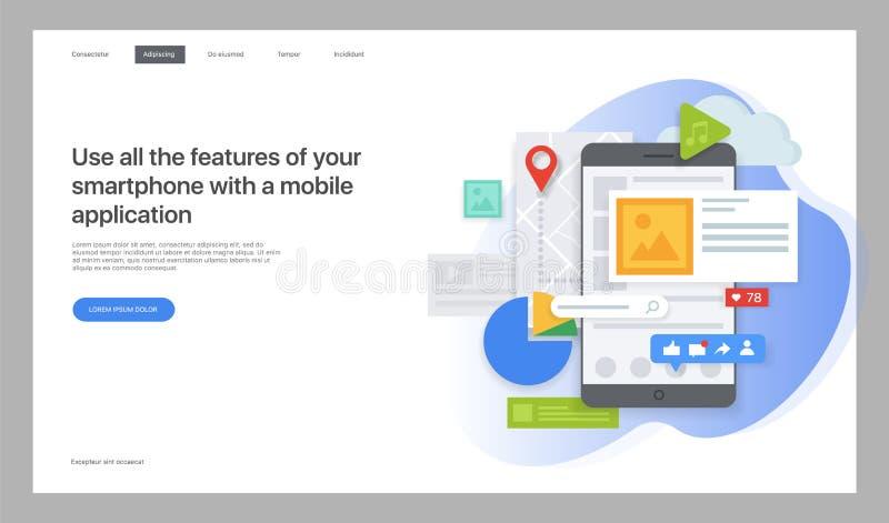 творческий вебсайт шаблона Иллюстрация вектора для интернет-страницы иллюстрация вектора