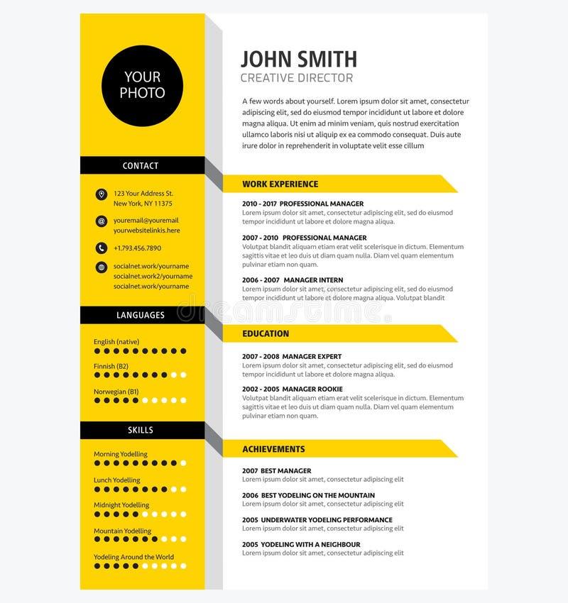 Творческий вектор цвета желтого цвета шаблона CV/резюма минималистский иллюстрация штока