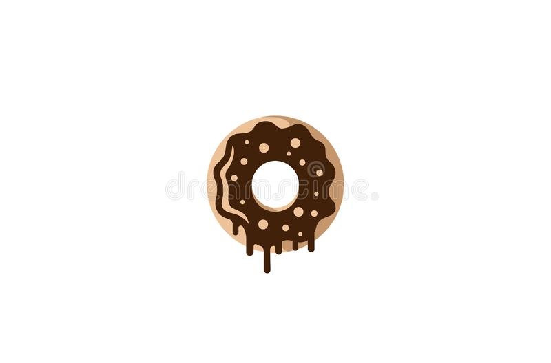 Творческий вкусный логотип донута иллюстрация вектора