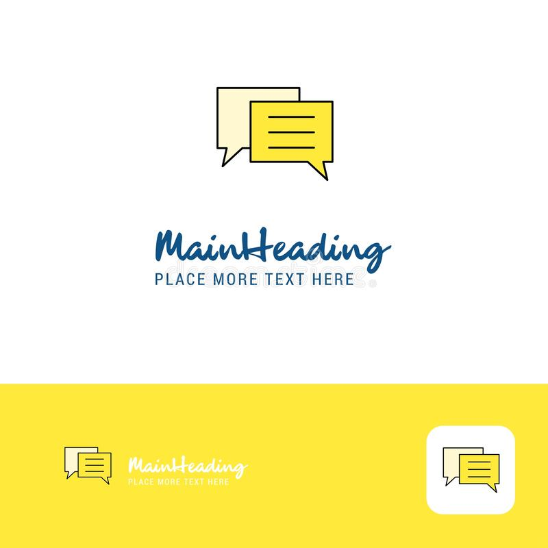 Творческий дизайн логотипа пузыря болтовни Плоское место логотипа цвета для слогана также вектор иллюстрации притяжки corel иллюстрация штока