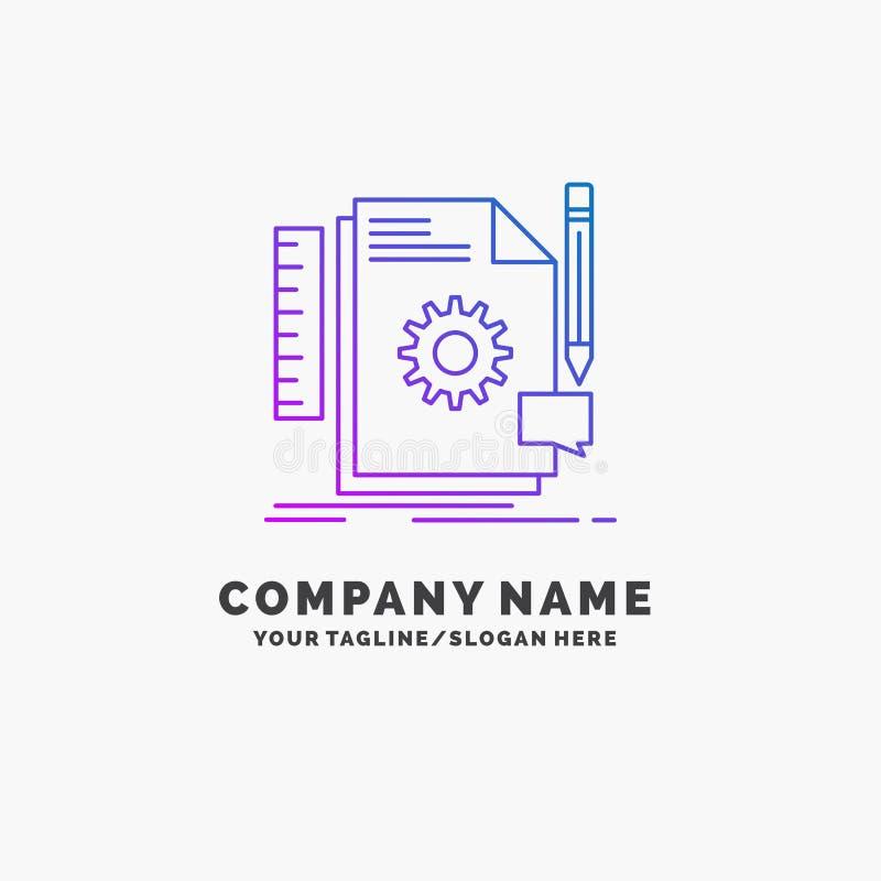 Творческий, дизайн, превратитесь, обратная связь, шаблон логотипа дела поддержки пурпурный r иллюстрация вектора