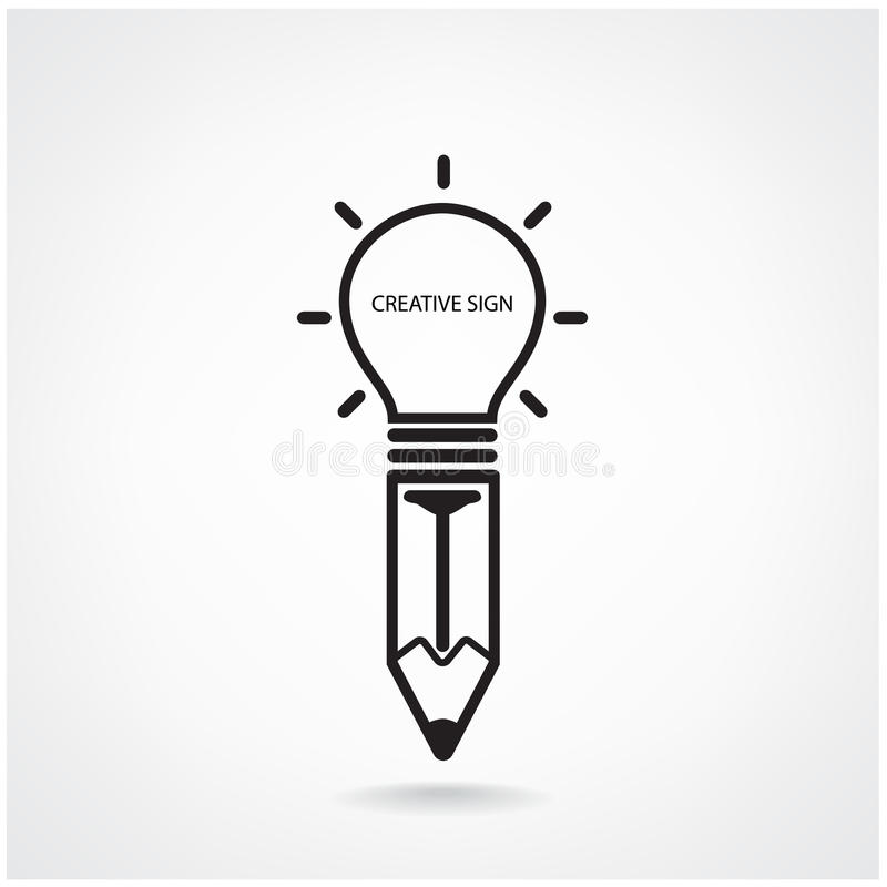 Творческий знак электрической лампочки и карандаша иллюстрация вектора