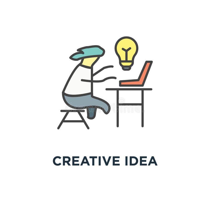 Творческий значок идеи дизайн символа концепции милого смешного характера печатая, работая на уютном домашнем офисе, воодушевленн иллюстрация штока