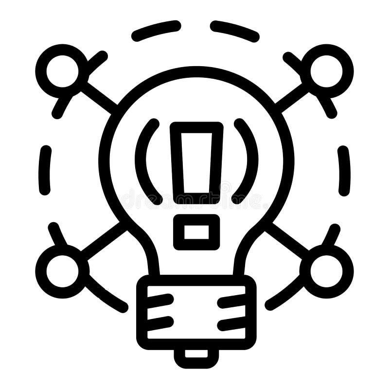 Творческий значок шарика идеи, стиль плана иллюстрация вектора