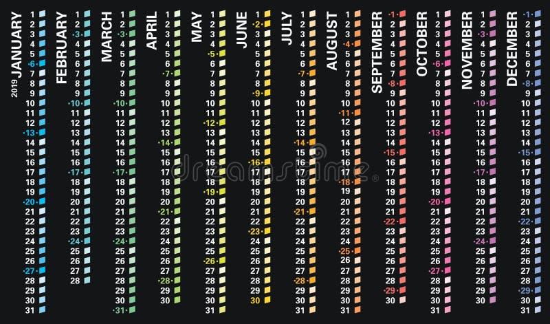 Творческий календарь стены 2019 с вертикальным дизайном радуги, воскресеньями выбрал, английский язык бесплатная иллюстрация