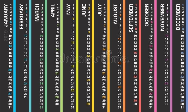 Творческий календарь стены 2019 с вертикальным дизайном радуги, воскресеньями выбрал, английский язык иллюстрация вектора