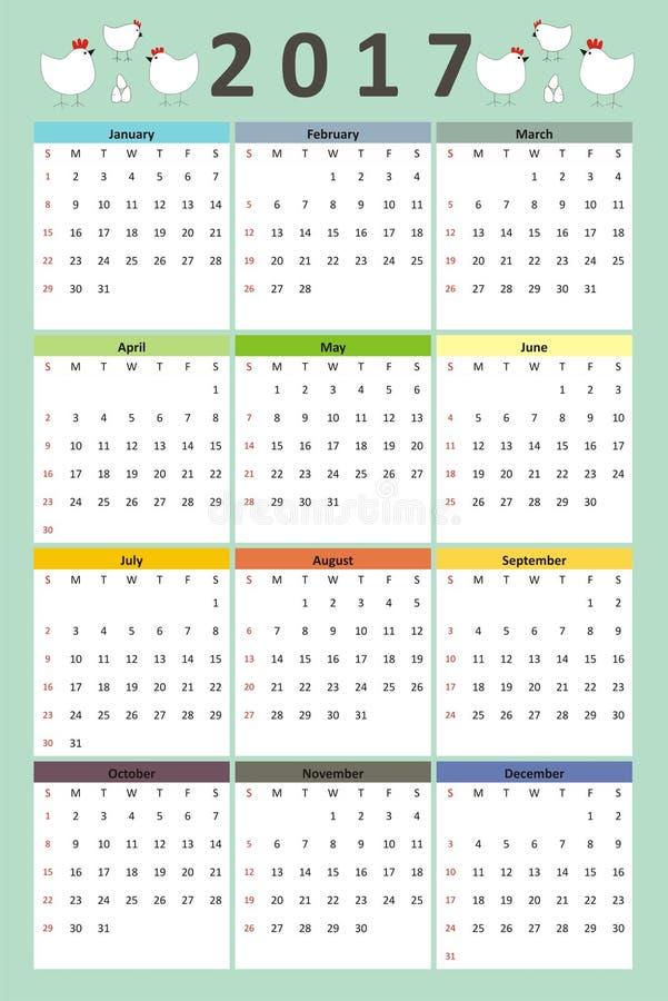 Творческий календарь петух, курица, цыпленок и яичка doodle стиля семьи цыпленка 2017 год бесплатная иллюстрация