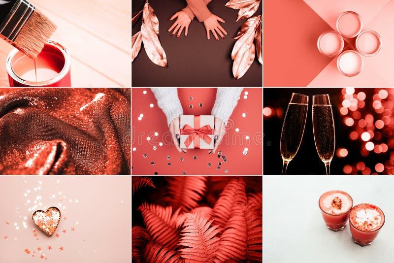 Творческий коллаж в цвете коралла стоковые изображения rf