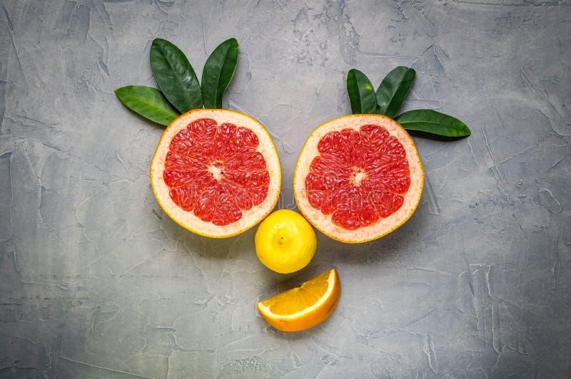 творческий коллаж: усмехаясь сторона сделанная из грейпфрута и лимона стоковая фотография rf