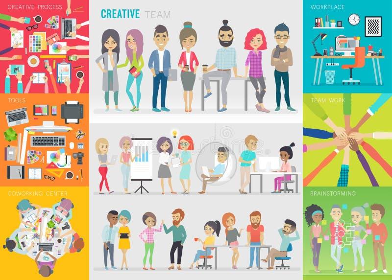 Творческий комплект команды иллюстрация вектора
