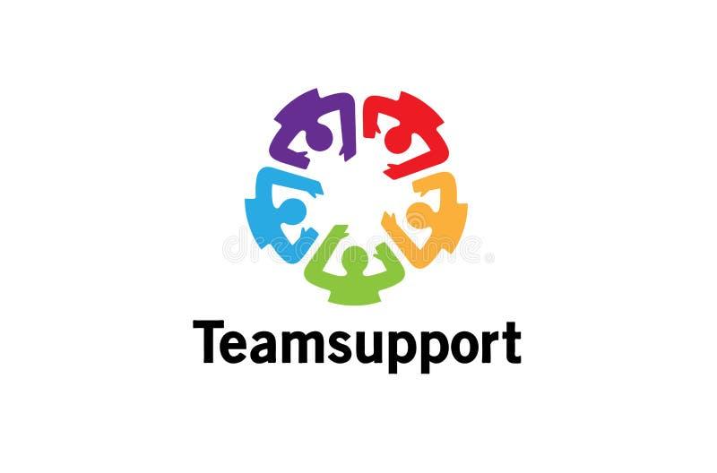 Творческий красочный дизайн логотипа толпы людей связи иллюстрация вектора