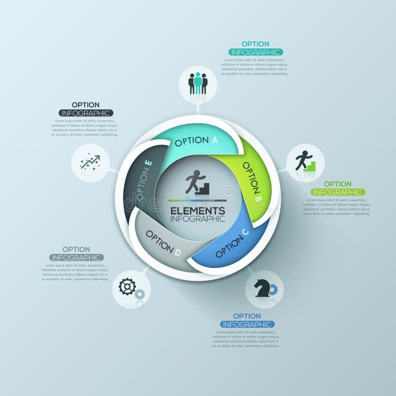 Творческий круглый infographic план дизайна с 5 пометил буквами перекрывая элементы иллюстрация штока