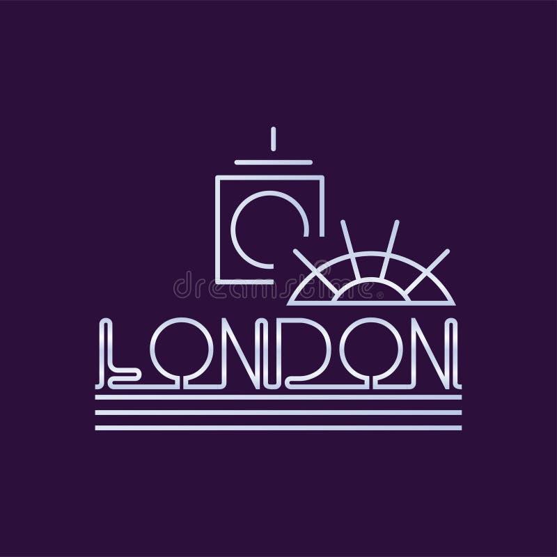 Творческий логотип города Лондона в линии стиле Абстрактные башня с часами большого Бен и колесо ferris по мере того как шаблон s иллюстрация штока