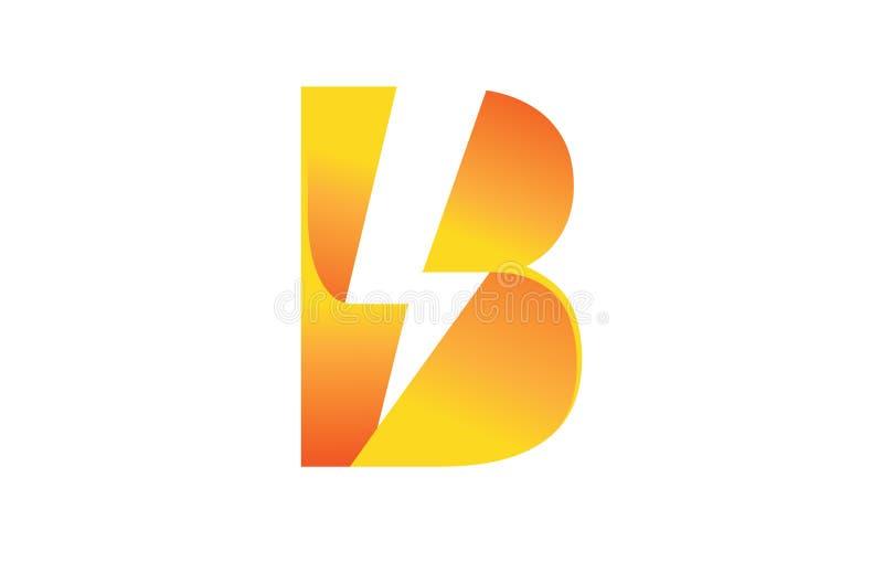 Творческий логотип символа b письма вспышки молнии болта иллюстрация вектора