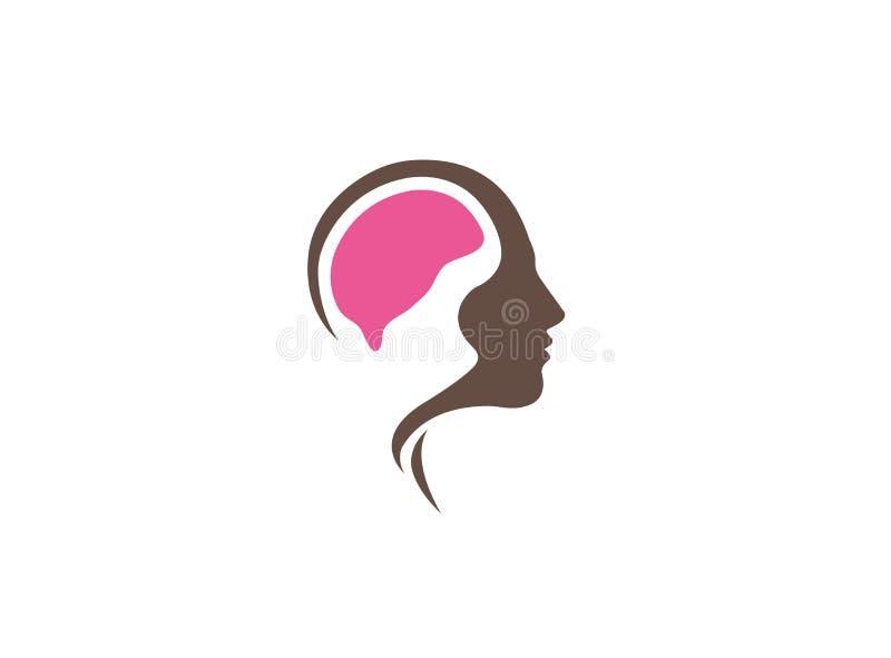 Творческий мозг внутри головы для иллюстрации дизайна логотипа иллюстрация штока
