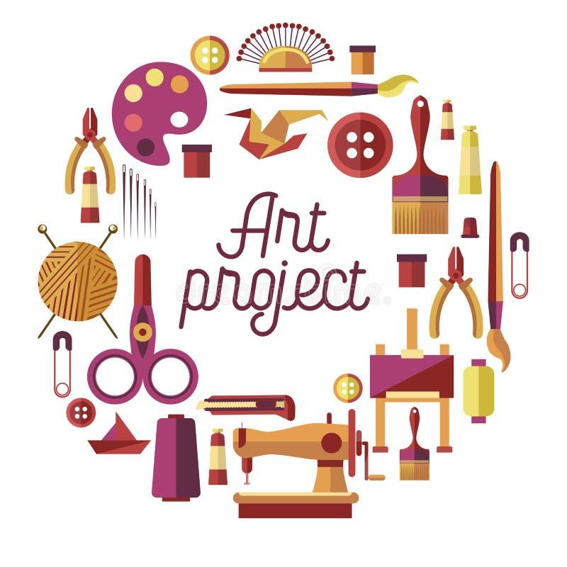 Творческий плакат вектора проекта искусства для ремесленничества DIY и handmade мастерской ремесла классифицирует иллюстрация штока