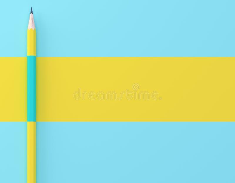 Творческий план идеи сделанный предпосылки желтого контраста карандаша голубой пастельной Минимальный шаблон с космосом экземпляр стоковое фото rf