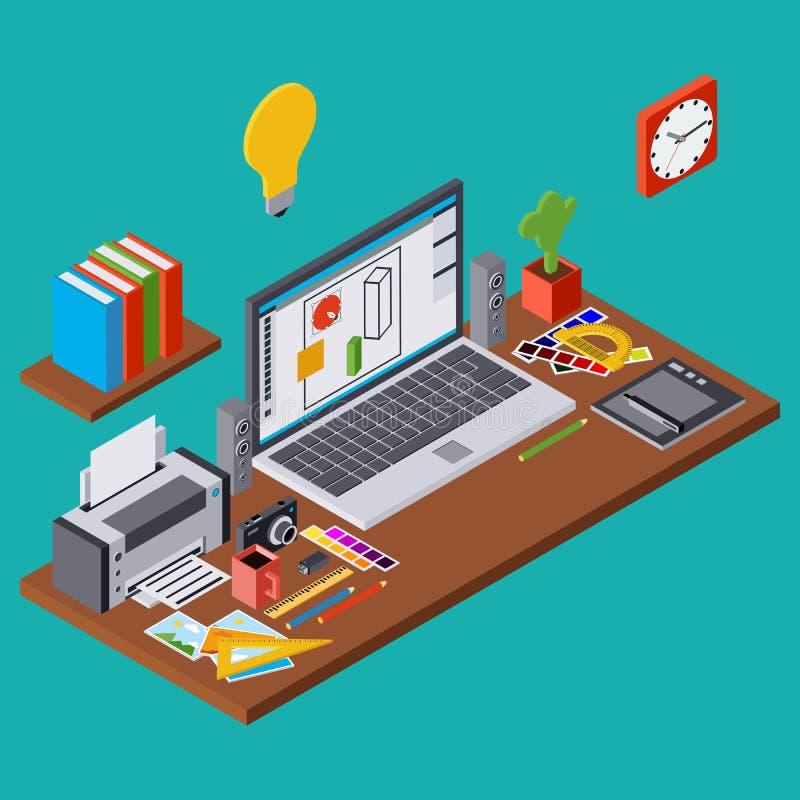 Творческий процесс, график веб-дизайна, дизайнерская концепция вектора рабочего места иллюстрация вектора