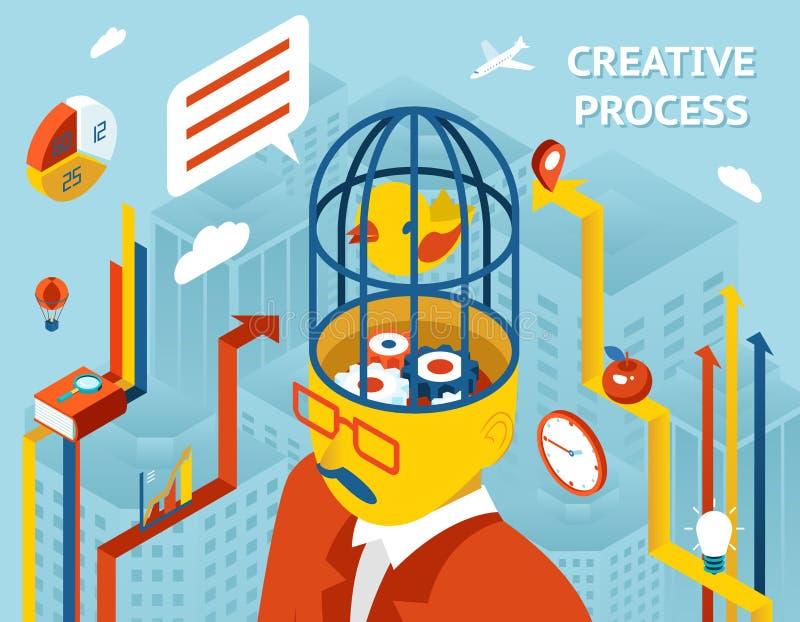 творческий процесс человек шестерен головной иллюстрация вектора