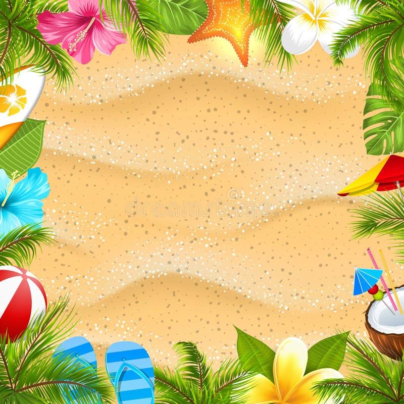 Творческий плакат с листьями ладони, шарик пляжа, цветок Frangipani, морская звёзда, доска прибоя, гибискус, текстура песка иллюстрация штока