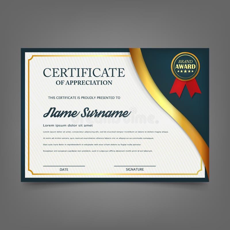 Творческий сертификат шаблона награды благодарности Дизайн шаблона сертификата с самым лучшим символом награды и голубыми и золот иллюстрация вектора