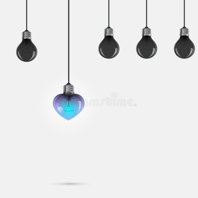 Творческий символ электрической лампочки с знаком сердца и concep разницы иллюстрация вектора