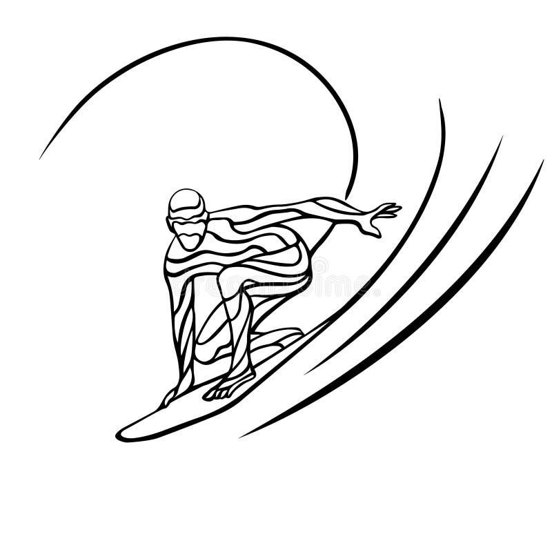 Творческий силуэт волн серфера иллюстрация штока
