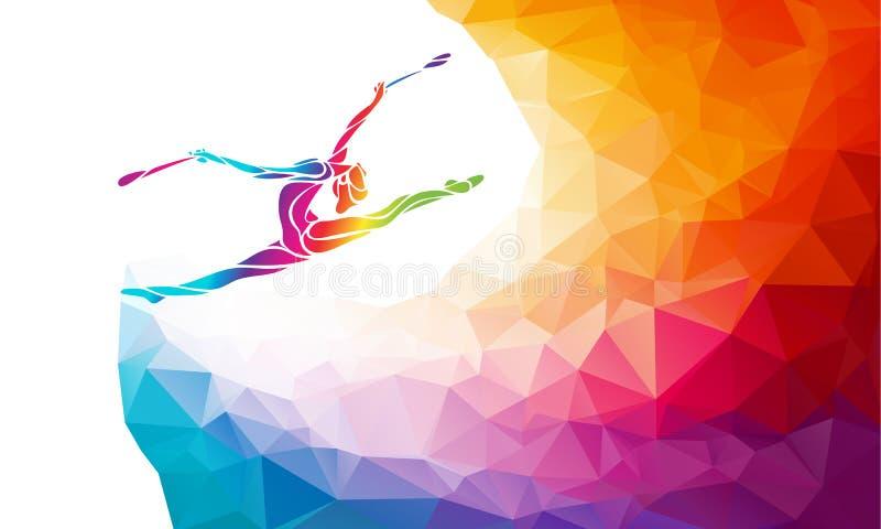Творческий силуэт гимнастической девушки Гимнастика искусства с клубами иллюстрация штока