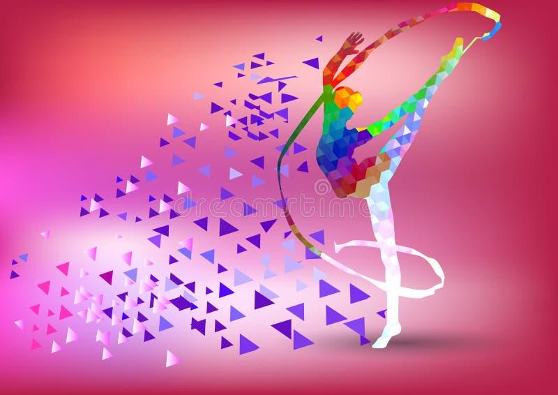 Творческий силуэт гимнастической девушки иллюстрация штока
