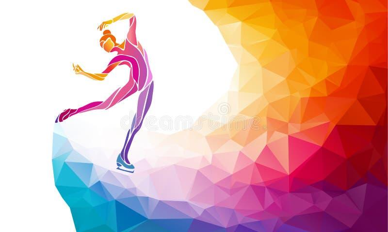 Творческий силуэт девушки катания на коньках на multicolor задней части иллюстрация вектора