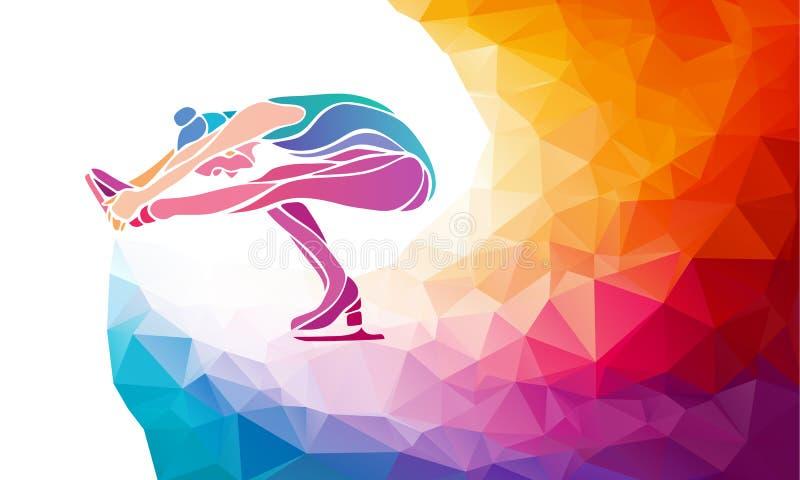 Творческий силуэт девушки катания на коньках на multicolor задней части иллюстрация штока