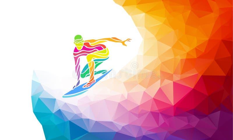 Творческий силуэт серфера Вектор фитнеса бесплатная иллюстрация