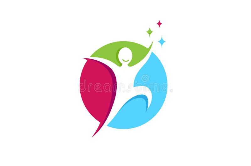 Творческий скача счастливый логотип надежды подарка метафоры свободы персоны иллюстрация вектора
