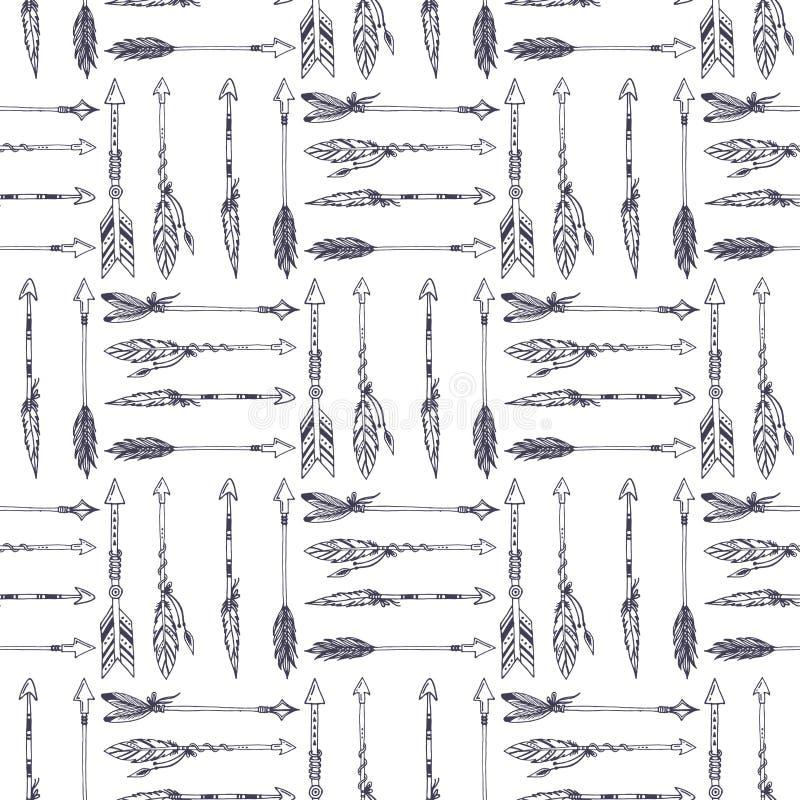 Творческий стиль boho вектора обрамляет стрелки пер mady этнические и предпосылку картины флористических элементов безшовную бесплатная иллюстрация