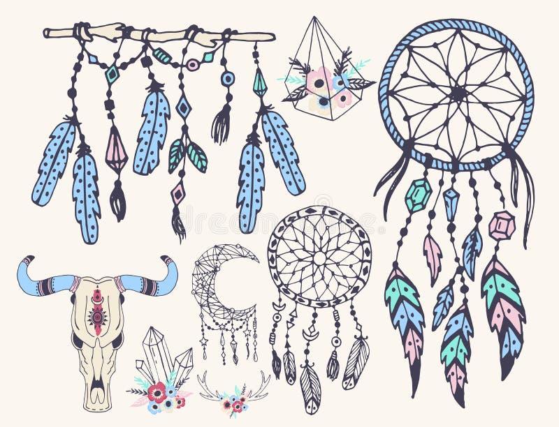 Творческий стиль boho обрамляет стрелки пер mady этнические и флористические элементы vector иллюстрация иллюстрация штока