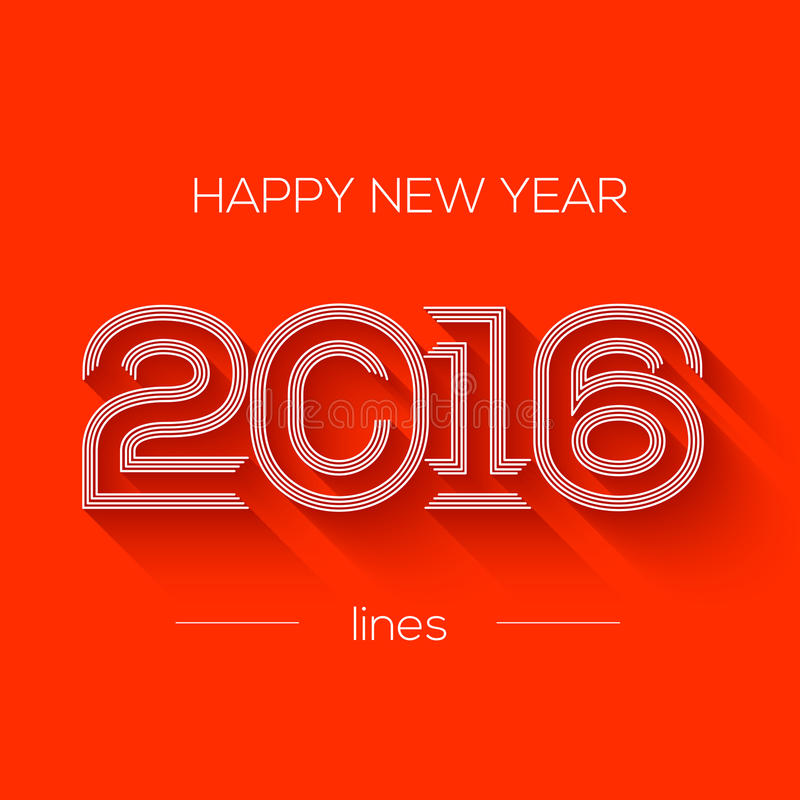 Творческий счастливый дизайн Нового Года 2016 Плоский дизайн иллюстрация вектора