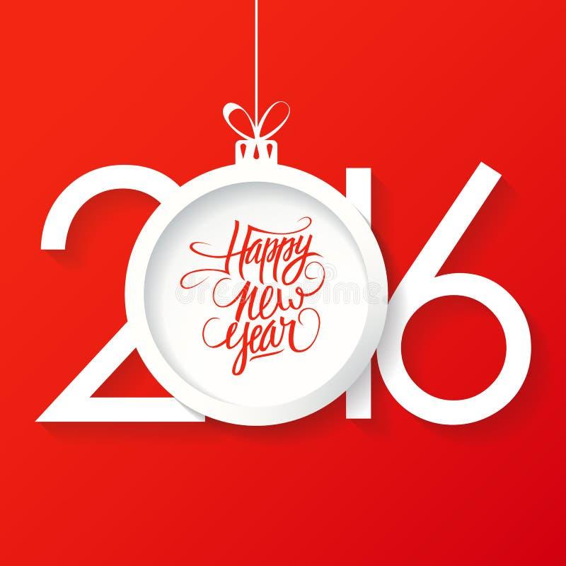 Творческий счастливый дизайн текста Нового Года 2016 с шариком рождества Счастливой дизайн текста Нового Года нарисованный рукой иллюстрация штока
