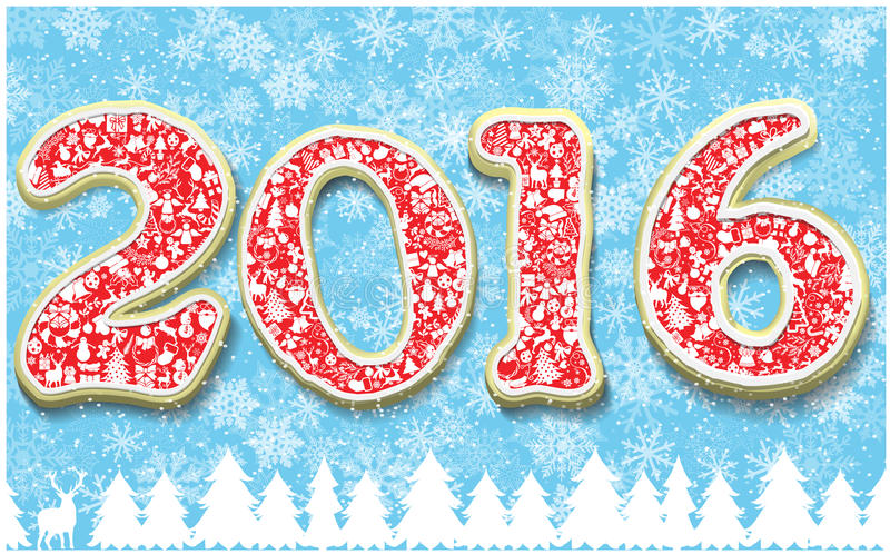 Творческий счастливый Новый Год 2016 в форме дизайна пряника Номер года как печенья на предпосылке снежинок бесплатная иллюстрация