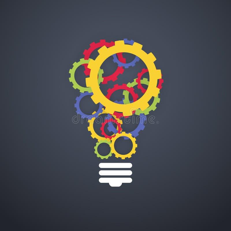 Творческий цвет концепции технологии зацепляет электрическую лампочку бесплатная иллюстрация