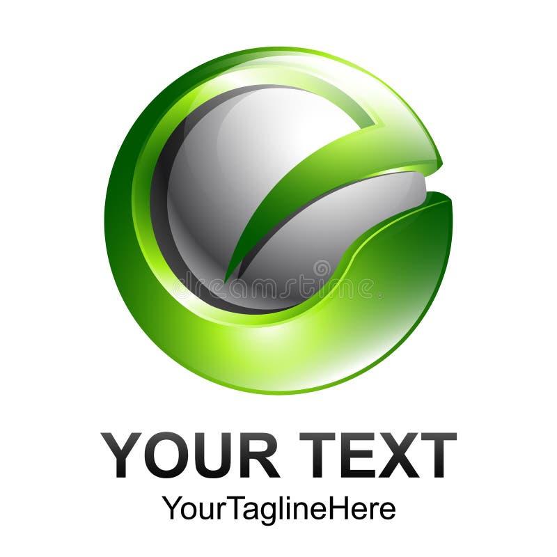 Творческий шаблон дизайна логотипа вектора письма e сферы конспекта 3d иллюстрация штока